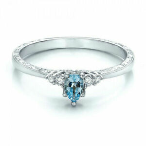 18K WHITE GOLD FILLED CLEAR AQUAMARINE TOPAZ TEARDROP/HEART SOLITAIRE SIZE M
