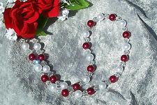 Perlenkette rot weiss metallic Perlen glasklare Bicone Hochzeit Abendkleid *