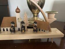 GERMAN CHRISTMAS 4 CANDLE ARCH (Schwibbog) ERZGEBIRGE WOOD CARVED TREES CAROLERS
