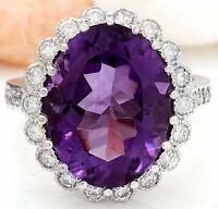 10 Carat Purple Amethyst 18K White Gold Over Luxury Halo Wedding Diamond Ring