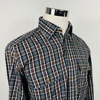 Canali 1934 Mens Medium Luxury Flannel Shirt Gray Brown Plaid Cotton Italy