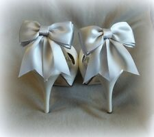 Shoe Clips,Silver Satin Bows,Wedding Accessories, Bridal Accessories, New
