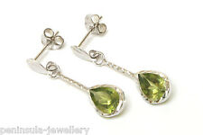 9ct White Gold Peridot Teardrop Earrings Made in UK Gift Boxed
