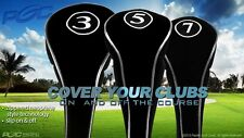 NO LOGO COMPLETE 3 5 7 WOOD SET NEW DRIVER GOLF CLUB HEAD COVERS BLACK HEADCOVER