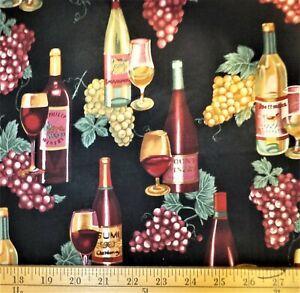 Fat Quarter 100% Cotton - Wine Tasting / Black