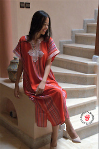 Handmade Moroccan red kaftan with multi coloured stripes
