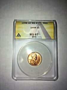 1958 ANACS Graded MS 67 Red Lincoln Wheat Cent