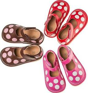 Leather Squeaky Shoes with Polka Dots  Shoe Sizes 1 2 3 4 5 6 7 RUNS BIG