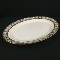 VTG Oval Serving Platter Noritake Rima Floral Black Gold Rim 6906 Japan