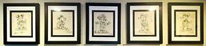 "Original Walt Disney Pencil Sketch Framed 11"" X 13""."