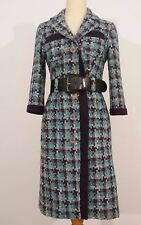 Vintage CHANEL Tweed Plaid Wool 1980 Vintage Coat Size 2 Blue Purple Cream Belt