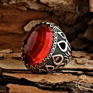 Mens Ruby Carved Red Stone Vintage Silver Tulip Signet Big Rings For Man Size