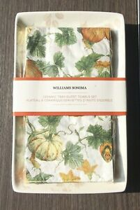 WILLIAMS SONOMA Ceramic Tray & Guest Towels Set Pumpkins Autumn Leaves NEW