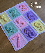 KNITTING PATTERN for Baby Blanket - Number Squares Bobble - Plain & Intarsia