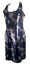 EUC Andrea Behar (Boston Proper) Black-Silver-Blue Abstract Sequined Dress - 2