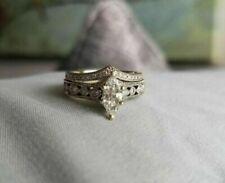 14k White Gold Finish 3.00 Ct Marquise Cut Diamond Engagement Wedding Ring Set