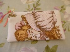 HANDMADE MAKE UP BAG, PENCIL CASE  - VINTAGE  SARAH KAY DOLL FABRIC 19 x 11cm