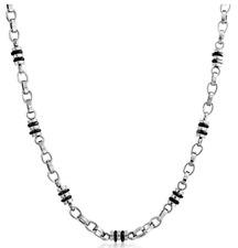 Mens Stainless Steel Black Barrel Bead Chain Link Necklace 19in