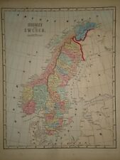 Antique 1856 Hand Colored NORWAY - SWEDEN MAP Old Authentic Vintage Atlas Map