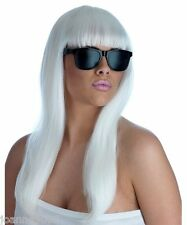 Long Straight Blonde Pop Star Diva Fancy Dress Costume Wig & Glasses Lady Gaga