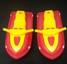 Vintage American Plastic Toys Inc Plastic Jet Ski White Red & Yellow lot of 2