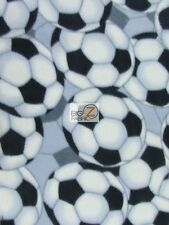 "SOCCER PRINT POLAR FLEECE FABRIC - Gray Soccer Balls - 60"" WIDTH BLANKET (CRF)"