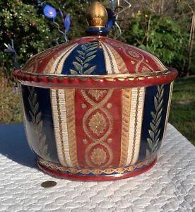"""Vintage Asian Fat Belly Lidded Bowl Round Ceramic Gold Blue Burgundy LARGE 26"""" C"""