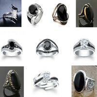 Fashion Black Sapphire 925 Silver Rings Women Jewelry Wedding Ring Size 6-10