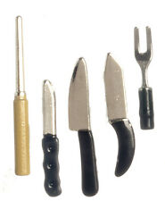 Set Of Kitchen Knives, Dolls House Miniatures, Miniature Knife Set, 1.12th Scale