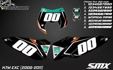 KTM EXC 2008-2011 Custom number plates backgrounds EXC graphics decals stickers