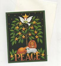 Caspari ~ 2 Lion & Lamb animal Holiday Christmas Cards Tree w/stars & dove Mint