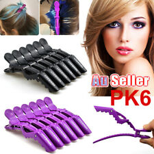 6Pcs Crocodile Sectioning Clamp AU Hair Clips Salon Hairdressing Black Matte
