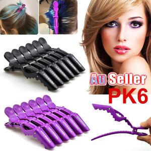 6Pcs Crocodile Sectioning Clamp AU Hair Clips Salon Hairdressing Black Matte