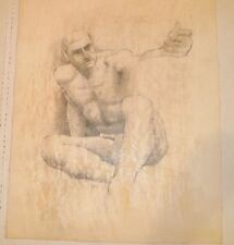 Nude Male Sitting with Arm Extended Mixed Media Drawing-1964-August Mosca