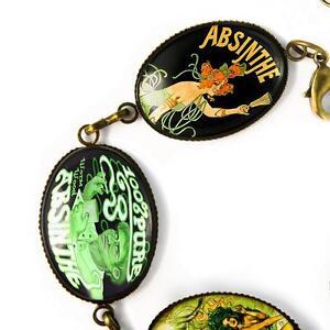 Handmade Green Absinthe Fairy Art Nouveau Victorian Deco Bronze Charm Bracelet