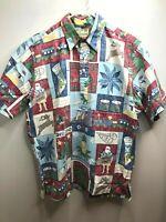 Reyn Spooner Hawaiian Pullover Shirt Reverse Mele Kalikimaka Christmas Large EUC