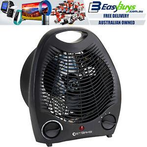 Starke Electric Fan Heater Black 2000W Portable Thermostat Room Floor Table Desk