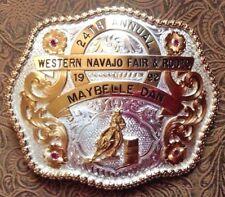 1992 Western Navajo Fair & Rodeo Belt Buckle Silverplated Montana Silversmiths
