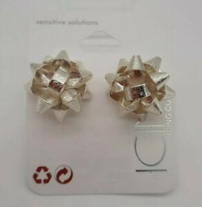 Claire's ICING Stud Earrings Silver Glitter Bow Design Sensitive Solutions NWT