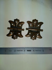 2 heavy cast iron copper flashed butterfly hinges vg condition