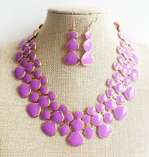 Gold Plated Purple Fashion Double Row Enamel Bib Bubble Necklace Earrings Set