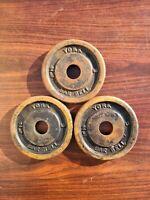 3 Vintage York Barbell Plates 2.5 lb