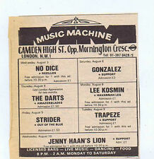 NO DICE / GONZALEZ / JENNY HAAN / TRAPEZE press clipping 1977 (6/8/77) 9X10cm