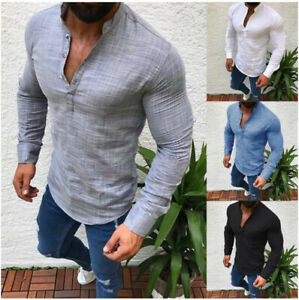 Mens V Neck Long Sleeve Shirt Casual Slim Fit Muscle Tee T-Shirt Blouse Tops