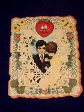 Ancienne carte saint valentin USA CHICAGO CARRINGTON CO 1920 style broderie
