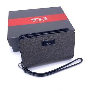 Tumi Belden SLG Earl Grey French Purse Wristlet Black Leather Trim