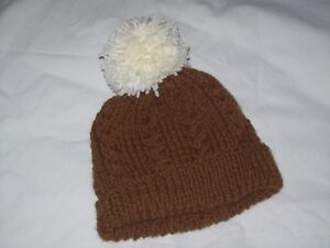 Ladies Hand Knit Brown Cable & Rib Beanie Hat with Cream Bobble - BNWOT