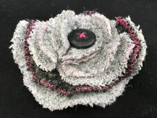 Tweed Flower Brooch Corsage Handmade Pin Fabric Grey Pink Gift for her Under £10