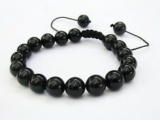 Men's Natural Gemstone bracelet  all 10mm Black Obsidian beads