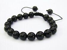 MEN's Natural Gemstone Braccialetto tutti 10mm Nero Ossidiana beads